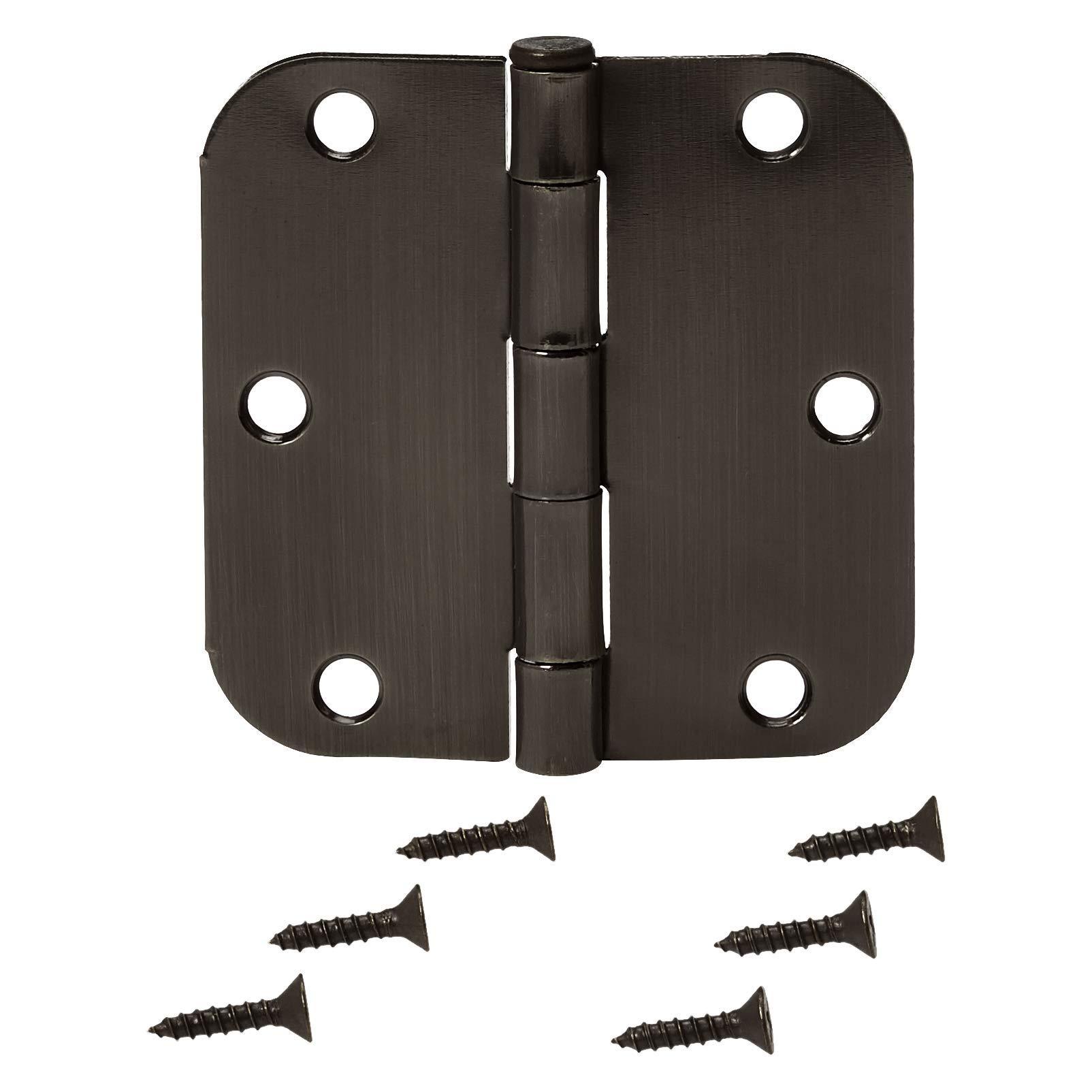 AmazonBasics Rounded 3.5'' x 3.5'' Door Hinges - 18 Pack - Oil Rubbed Bronze by AmazonBasics (Image #3)