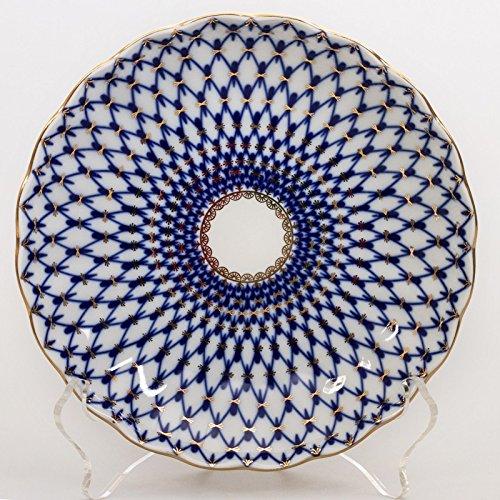 (Imperial / Lomonosov Porcelain Biscuit Dish 'Cobalt Net' Tulip)