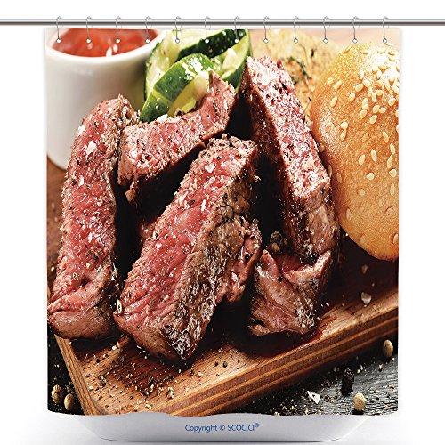 Durable ducha cortinas Prime Black Angus Carne Hamburguesa Medium Rare Grado de carne doneness 463470179Juego de poliéster...