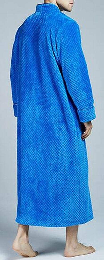 XTX Mens Warm Solid Color Cozy Zip Front Flannel Fall /& Winter Relaxed Fit Kimono Nightgown Robe Nightwear Bathrobe