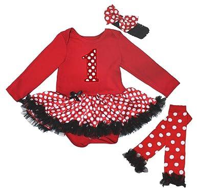 My 1ST Christmas Santa Claus Red L//S Bodysuit Bling Girls Baby Dress Set NB-18M