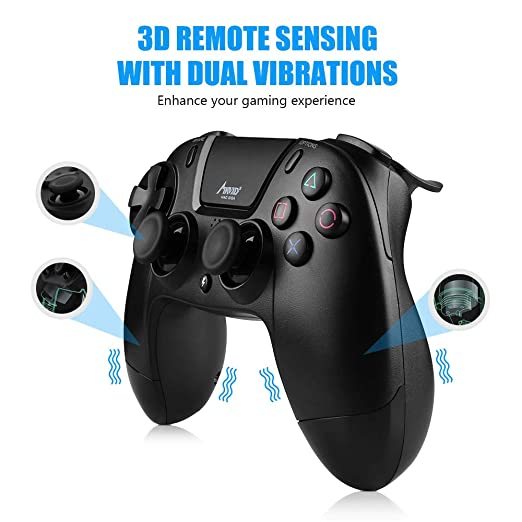Mad Giga mando con Pantalla tácti Bluetooth 4.0 Wireless Gamepad Alámbrico/ Inalámbrico,Playstation 4 compatible con PS3,PS4 Y PC: Amazon.es: Videojuegos