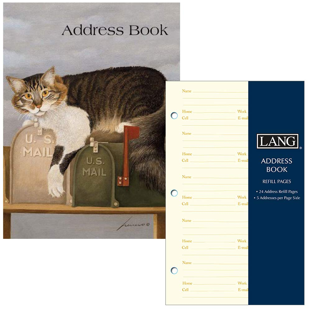 Lang Company Address Book for Women - Cat Design - Three Ring Binder with Tabs - Holds 600 Addresses - Includes Refill Pages for 240 More Addresses by Lang Company