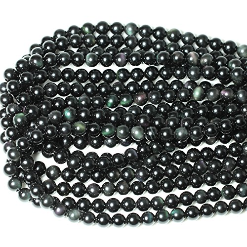 CHEAVIAN 45PCS 8mm Natural Black Obsidian Gemstone Round Loose Beads Crystal Energy Stone Healing Power for DIY Jewelry Making 1 Strand 15""