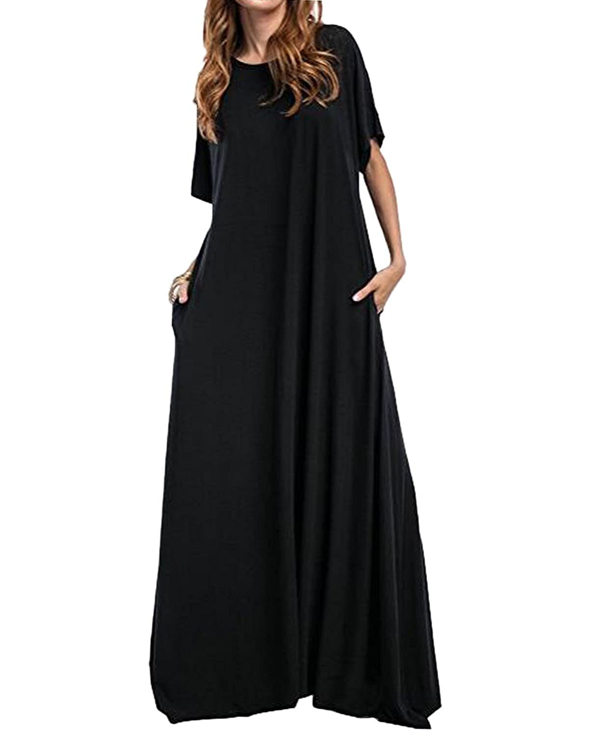 37d17032b76d Kidsform Women's Loose Maxi Dress Short Sleeve Casual Kaftan Party Long  Dresses Plain Solid with Pockets at Amazon Women's Clothing store: