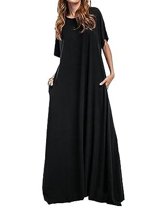 9e6423b66f53 Kidsform Women Maxi Dress Loose Round Neck Short Sleeve Long Solid Plain  Dress with Pocket Black
