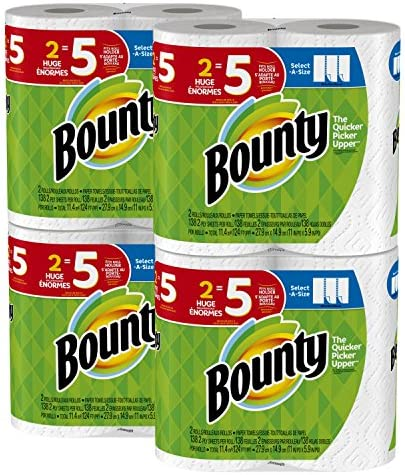 bounty select a size paper towels white huge roll 8 count