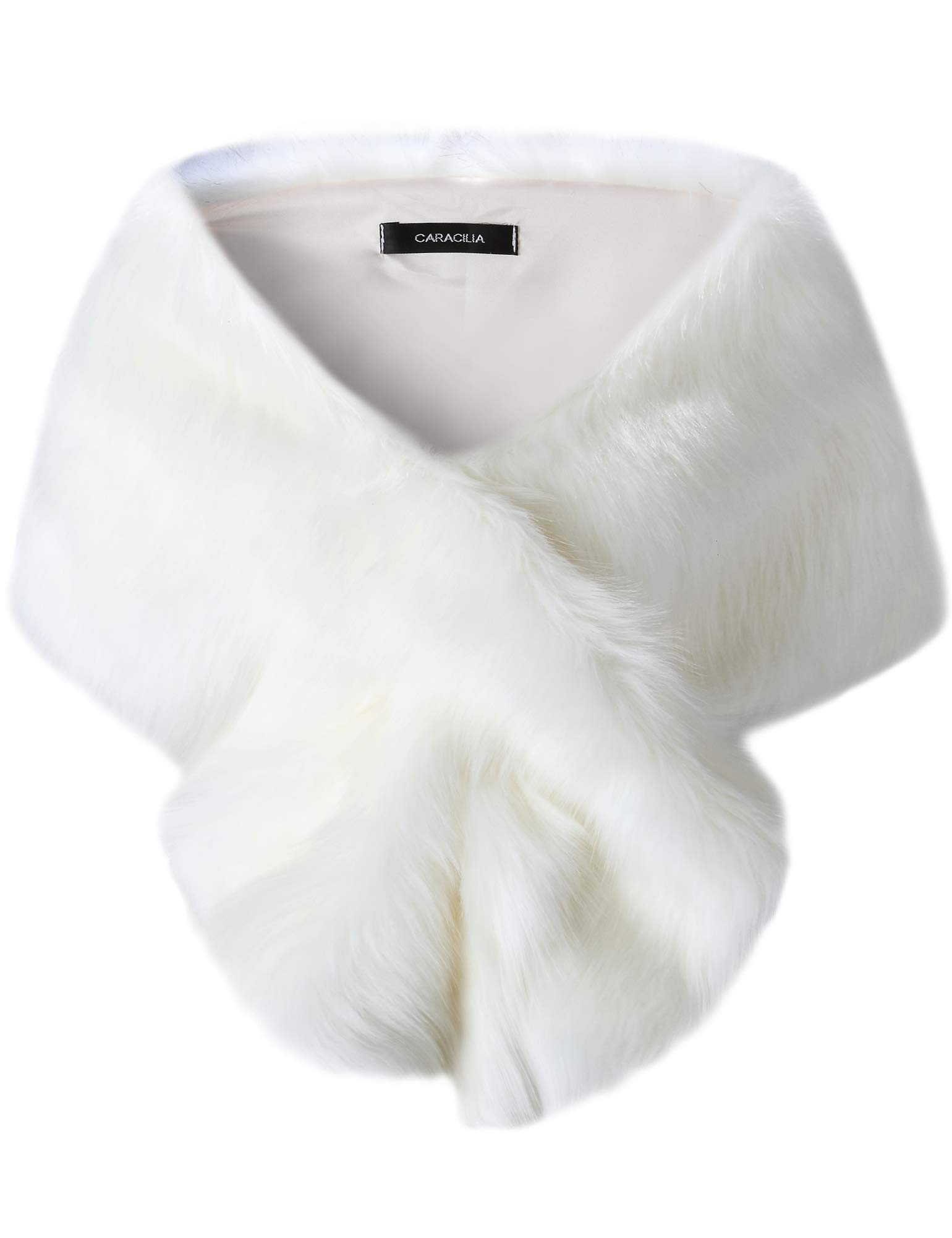 Caracilia Women's Faux Fur Bridal Wedding Shawl and Wraps Winter Warm Party Evening Fur Stole changmaobai CAFB3, White/Long Hair, Small by Caracilia