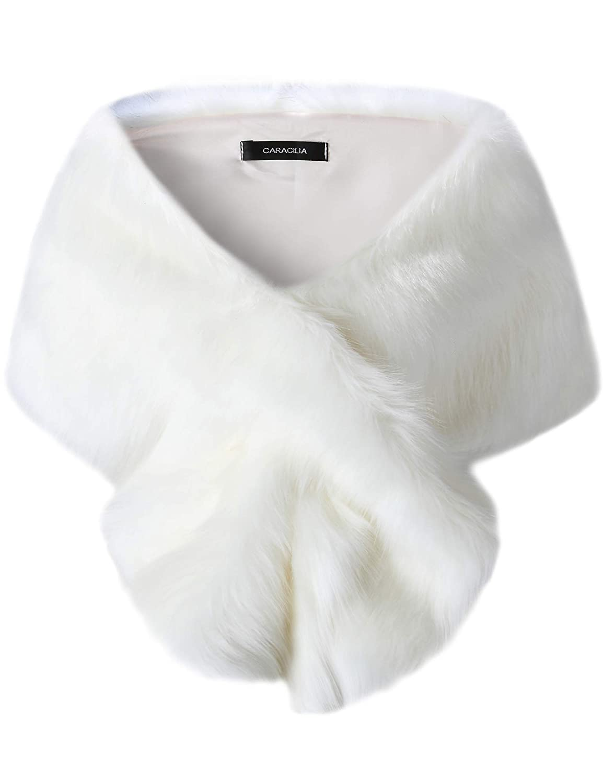 White Long Hair Caracilia Women's Faux Fur Shawl Wraps Stole Cloak Coat Sweater Cape for Evening Party Bridal Wedding