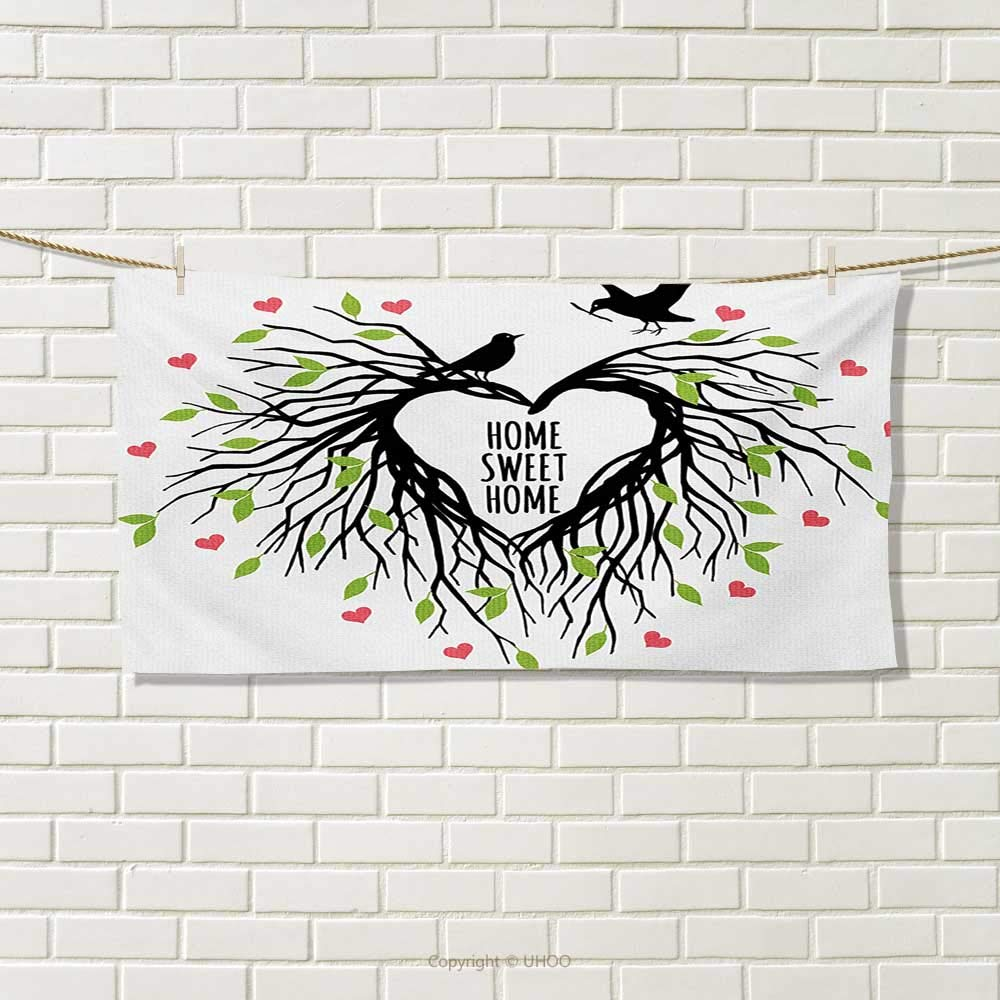 """Chaneyhouse Tree of Life,Travel Towel,Heart Shaped Bird Nest Sweet Home Quote Hope Family Partners in Nature,100% Microfiber,Black Green Pink Size: W 12"""" x L 27.5"""""""