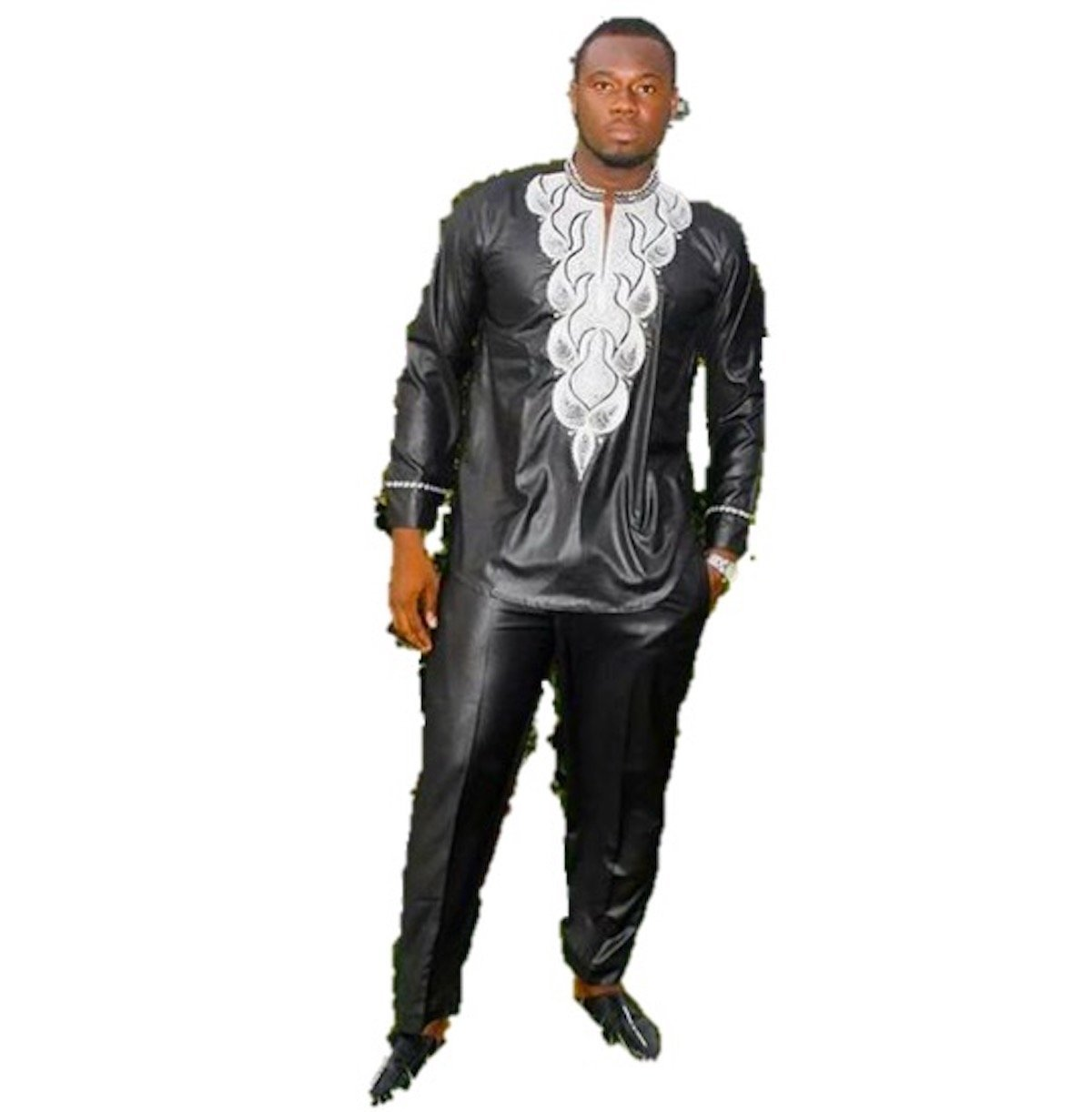 African Clothing for Men 2 Piece Top-Pants Embroidered Black Dashiki Long Sleeve Design