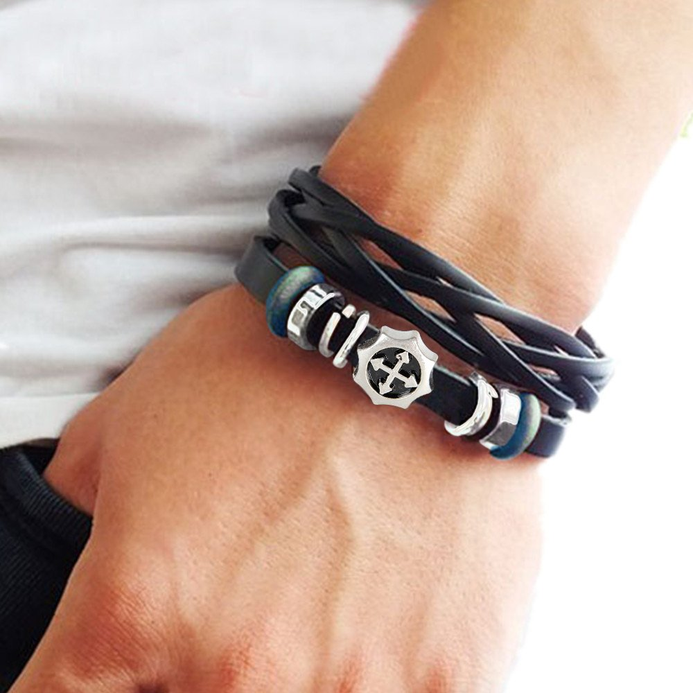 Fashion jewelry bangle bracelet made of black leather and beads, cross charm bracelet couple bracelet with metal woven snapper SL2615 OriginalTribe? COOLLA