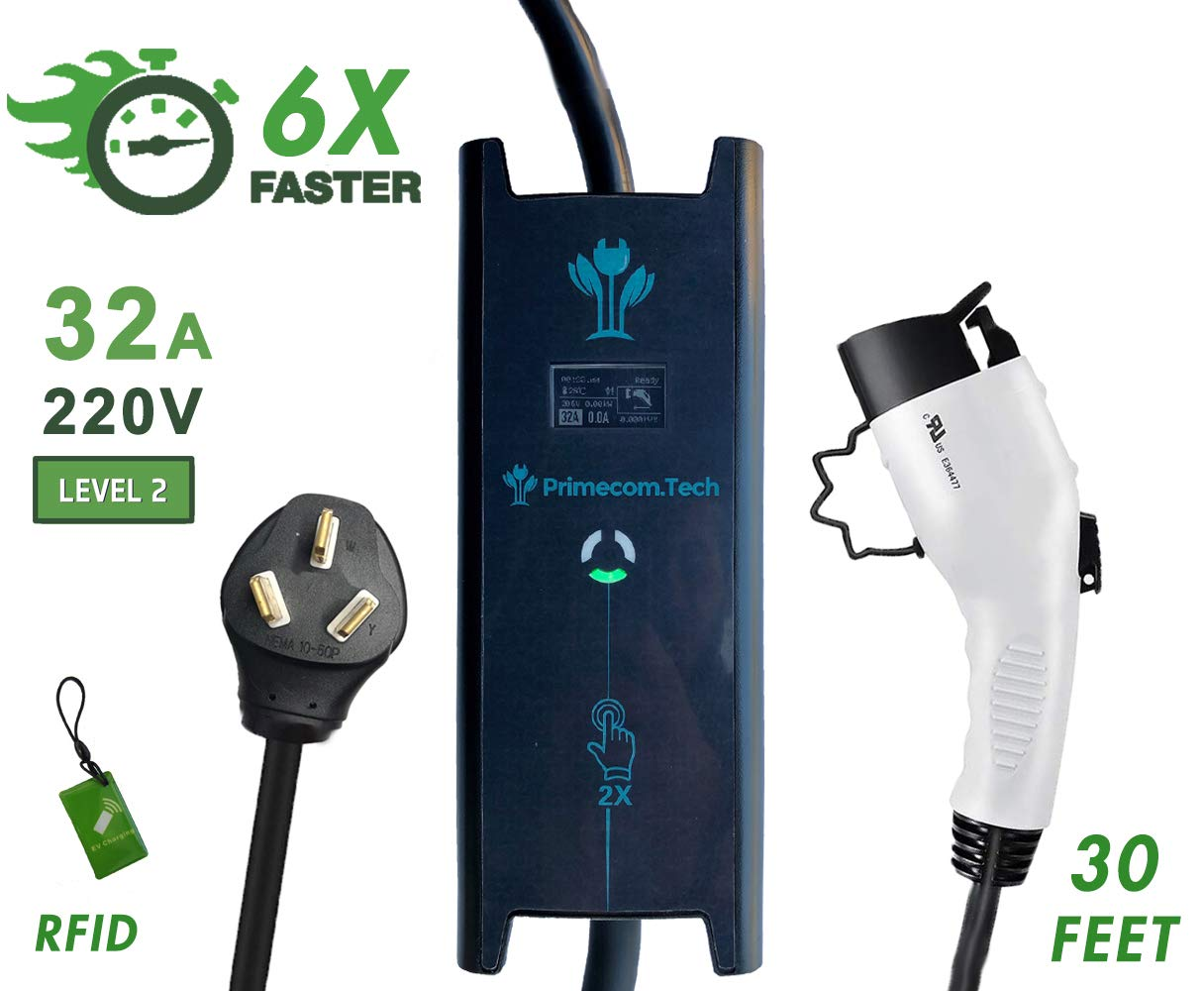 6-50P, 32 Amp PRIMECOM 30 Feet Level 2 Electric Vehicle 220//240V, 32Amp//40Amp for Tesla EV 10-50P /& 14-50P Charger 32 and 40 Amp 6-50P