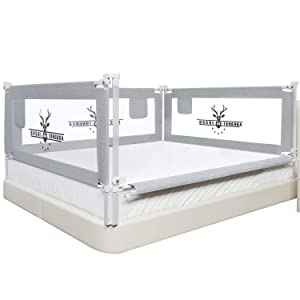 SURPCOS Bed Rails for Toddlers -New Upgraded Extra Long Bed Guardrail for Kids Great Fit for Twin, Double, Full-Size Queen & King Mattress (One Side 82 x 30 Inch, Buck)