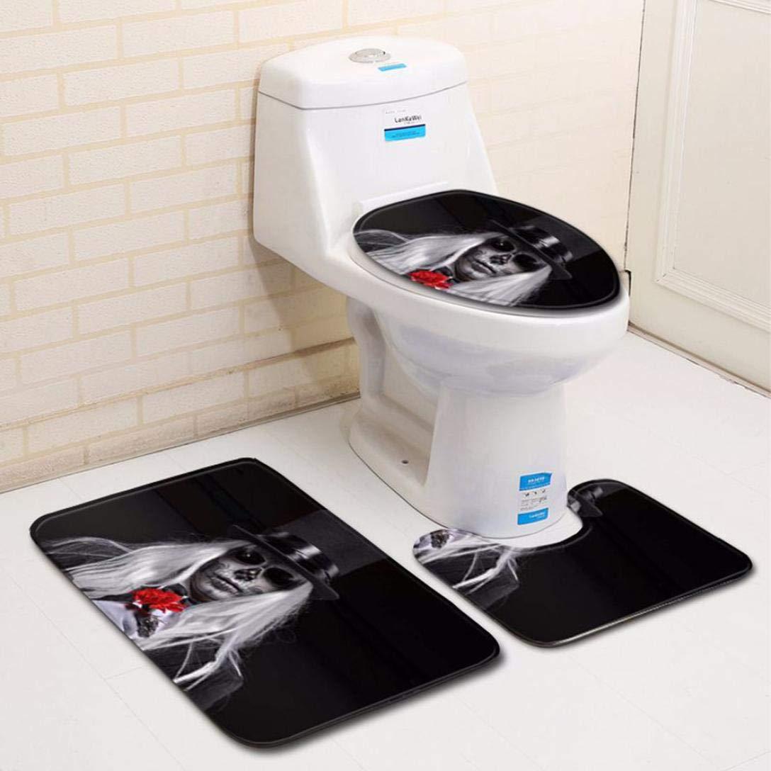 MatureGirl Bathroom Rug Mat - Bath Mat Carpet - Blood Handprint Bathroom Toilet Three Piece Floor Mat Door Mat Shag Shower Mat - Halloween Carpet Mats (A)