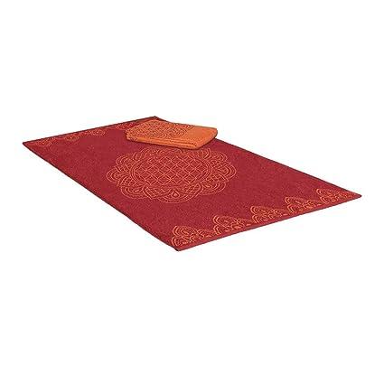 Mano Toalla Toalla vida flor en Lotus algodón orgánico – Esoterik accesorios, rojo, 48