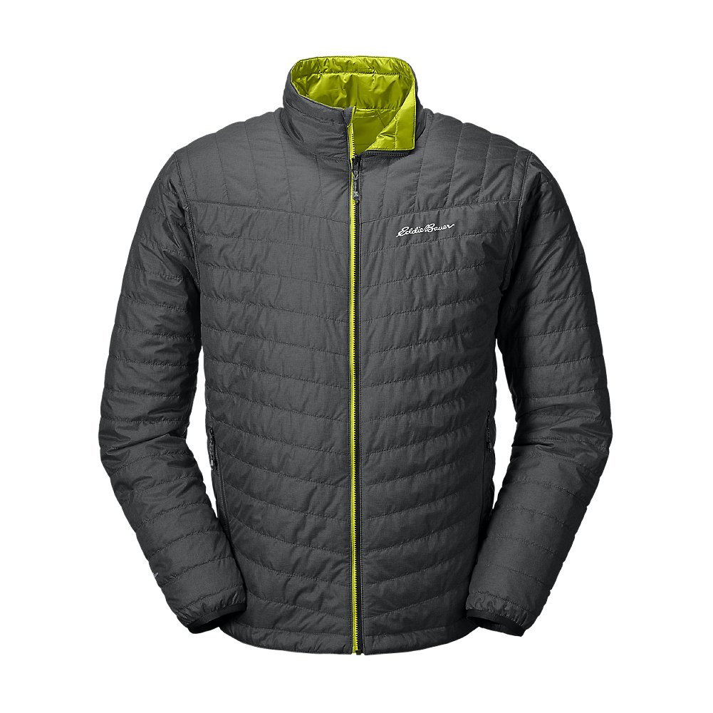Eddie Bauer Men's IgniteLite Reversible Jacket, Dk Smoke Htr Regular L