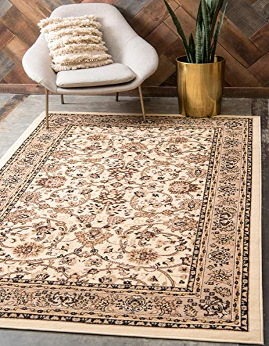 Unique Loom Kashan Collection Traditional Floral Overall Pattern with Border Ivory Area Rug (6' x 9')