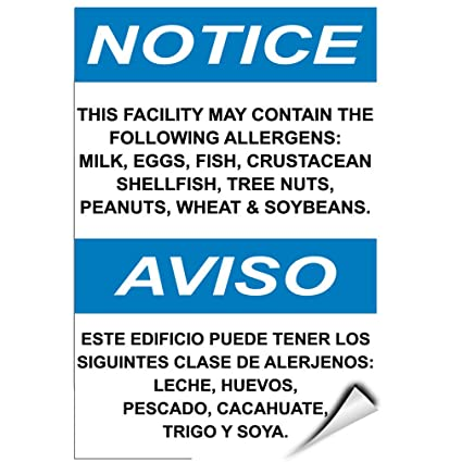 Notice Contain Following Allergens: Milk Eggs Fish Nuts Soya LABEL DECAL STICKER 5 inches x
