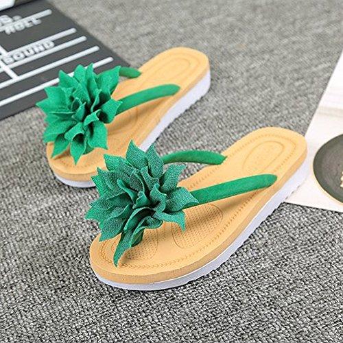 Btrada Mujeres Flower Thong Flip-flops Antideslizante Moda Beach Sandalia Verde