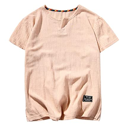 923f599e4 Amazon.com: YKARITIANNA Mens Linen Short Sleeve Solid Color Crew Neck Loose Casual  T Shirt Blouse 2019 Summer New Arrivals