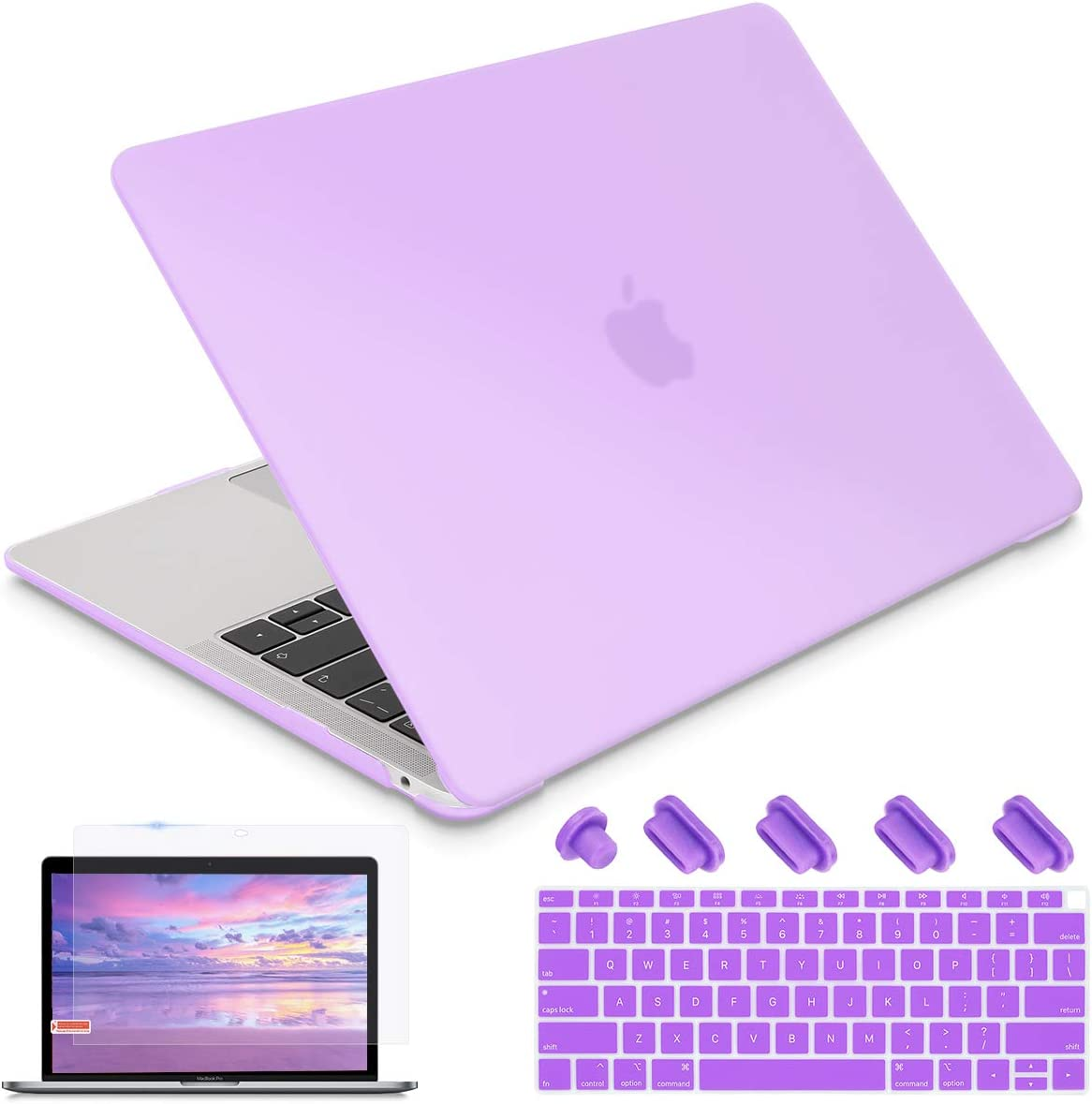 i-King Newest MacBook Air 13 2020 2019 2018 A1932 A2179 Laptop case,Plastic Smooth Frosted Hard Shell Cover Case for MacBook Air 13 with Retina Display and Touch ID,Purple