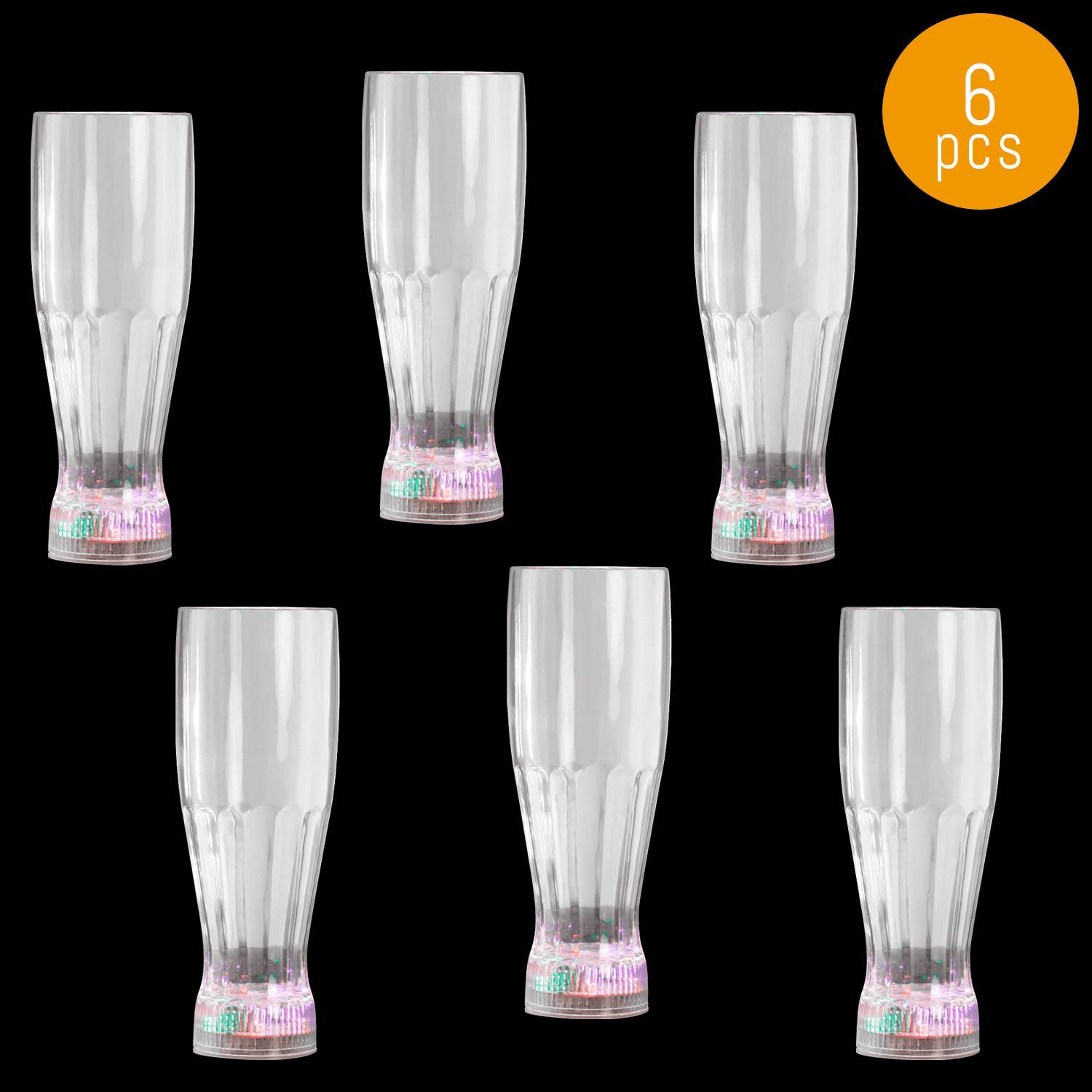 Lumistick LED Flashing Pilsner Glass with Freezable Base - Light Up Drinkware Multicolor Fun Drinking Tumblers - Night Party Glowing Beer Drinker Glass (6 Glasses)