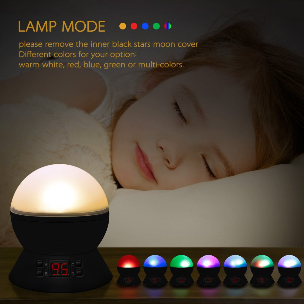 Star Sky Night Lamp,ANTEQI Baby Lights360 Degree Romantic Room Rotating Cosmos Star Projector with LED Timer Auto-Shut Off,USB Cable for Kid Bedroom,Christmas Gift (Black) by ANTEQI (Image #5)