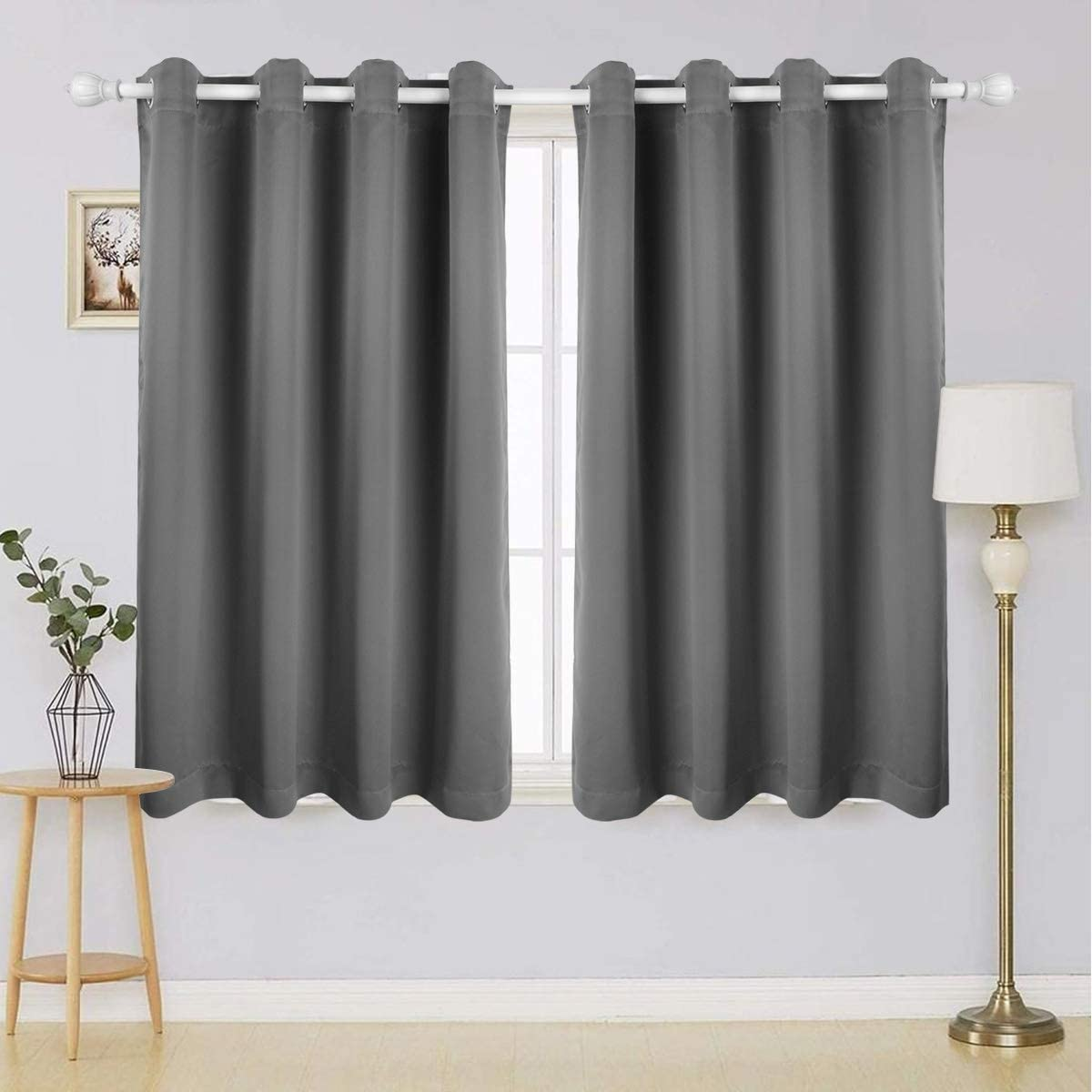 Anmon Blackout Curtains for Bedroom – Thermal Insulated Blackout Curtain Panels Grommet Blackout Draperies Room Darkening Curtains for Living Room, Set of 2 Panels 52×63 Inch Grey