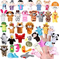 ACEHOOD Finger Puppets Cute Soft Velvet Cartoon Zoo Animals People Hand Puppets Toys for Toddlers Kids Baby