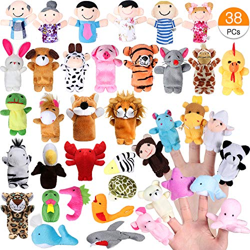ACEHOOD Finger Puppets Cute Soft Velvet Cartoon Zoo Animals People Hand Puppets Toys for Toddlers Kids Baby (38Pcs)