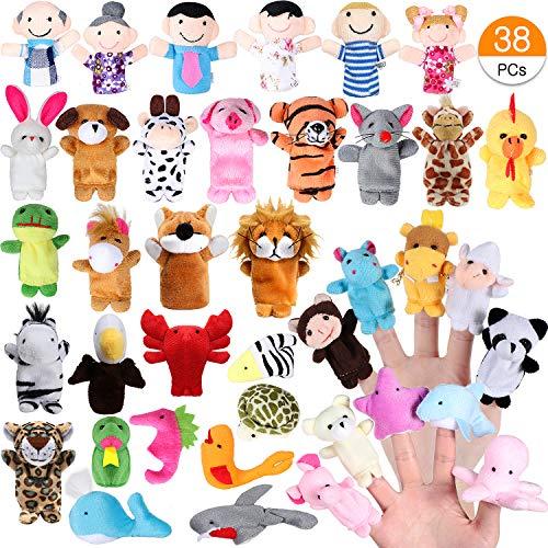 ACEHOOD Finger Puppets Cute Soft Velvet Cartoon Zoo
