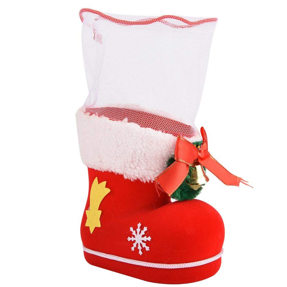 Garosa (Pack of 5) Red Felt Christmas Flocking Boot Candy Bag Gift Container Xmas Kids Santa Ornament Decoration(L)