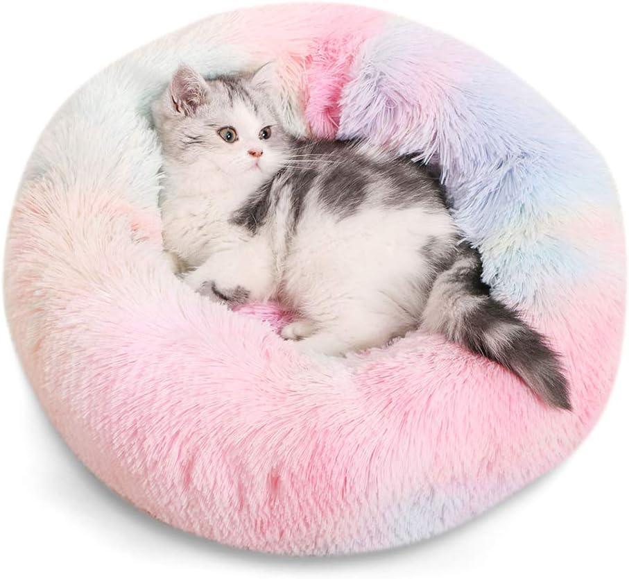 Urijk Cama para gato de peluche para perro de piel sint/ética con coj/ín de donut para alivio de articulaciones y sue/ño mejorado lavable a m/áquina parte inferior impermeable