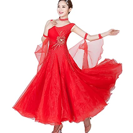 Ballroom Competition Dance Dress Women Red Standard Tango Waltz Dancing Dress