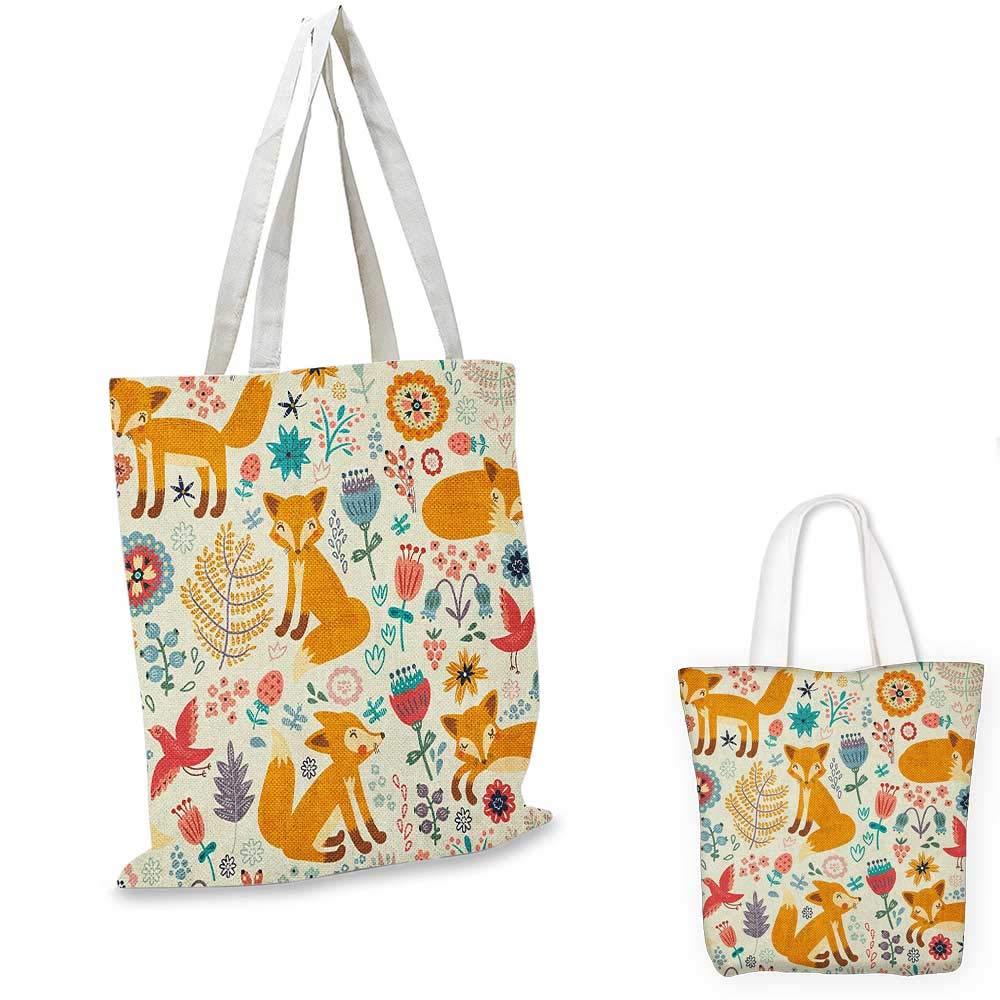 Fox canvas messenger bag Forest Animal Silhouette Pattern Sketch Style Mammals of European Origins canvas beach bag Orange Charcoal Grey 16x18-13