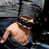 Mens 3Pcs Punk Style Bracelet Wood Beads Knitted Leather Wax Rope Cuff Popular
