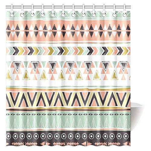 InterestPrint Native American Shower Curtain, Ethnic Geometric Design Aztec Inca Navajo Tribal Cultural Artwork Fabric Bathroom Set with Hooks, 66 X 72 Inches (Geometric American Native Designs)