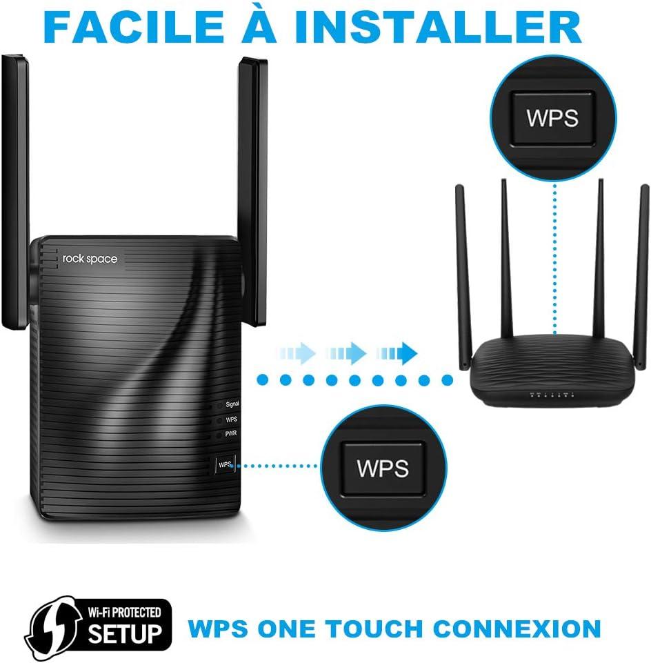 rock space Amplificateur WiFi Etendre Le Signal WiFi a la Maison de 200 Metre Carre sans Zone Mort