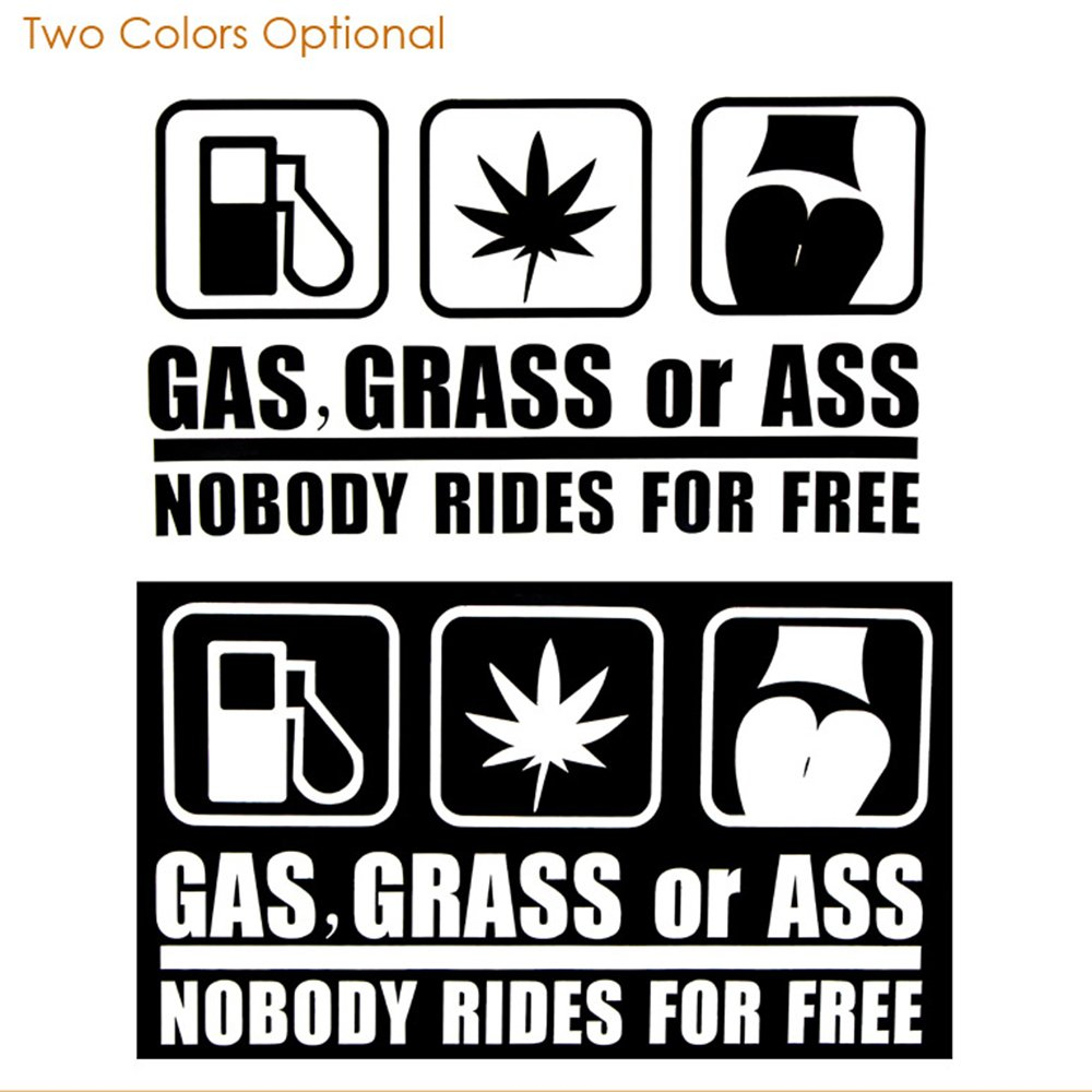 Amazon com dahama gas grass or ass nobody rides for free car sticker automotive