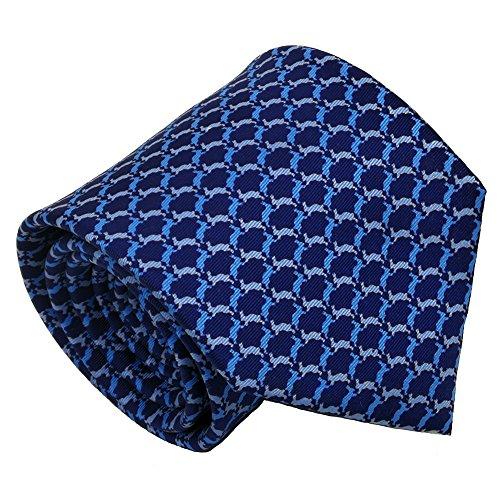(Qobod Classic Men's 100% Silk Tie Necktie Woven JACQUARD Neck Ties gift box BLUE SKY rabbit)