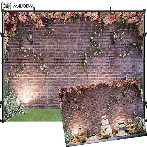 (Maijoeyy 7x5ft Flower Backdrop Brick Wall Photography Backdrop Birthday Party Photo Booth Backdrop for Photography Brick Flower Backdrops for Photoshoot)