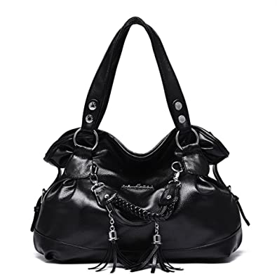 9dcd437f6c16 Hynbase Retro Fashion Women Casual Leather Tassel Tote Shoulder Handbag  Black  Handbags  Amazon.com