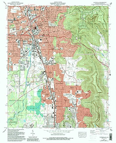 Huntsville AL topo map, 1:24000 scale, 7.5 X 7.5 Minute, Historical, 1975, updated 1993, 26.7 x 21.6 IN - - Brook Oak Map Center