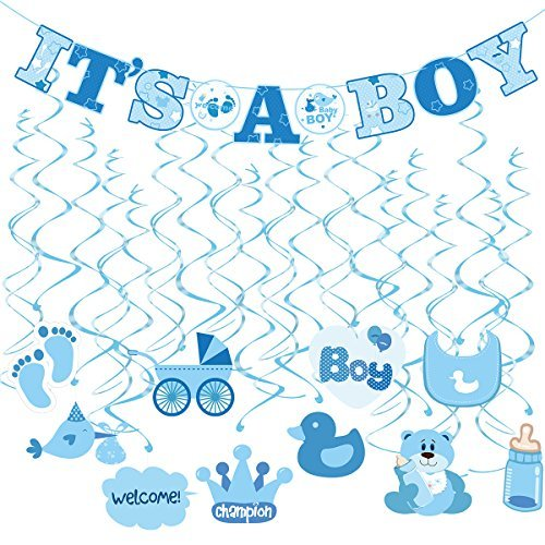 Tinksky 30pcs IT'S A BOY Banner Boy Baby Shower Dizzy Danglers Spiral Hanging Decoration for Parties (1Banner + 20Dizzy Danglers + 10Cards)