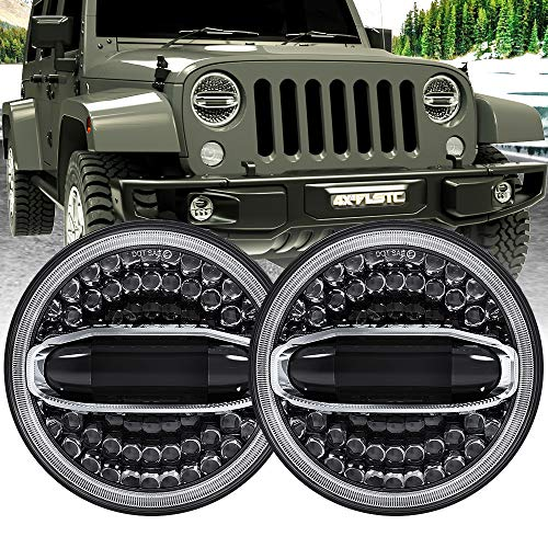1 Pair 7inch Round LED Halo Head lights,For Jeep Wrangler JK//TJ//LJ//CJ//Land Rover