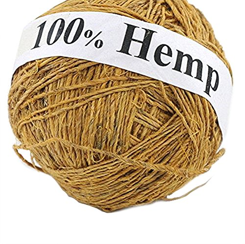 Darn Good Yarn Single Ply Sport Weight Hemp Yarn from Nepal - Natural Organic Handmade Vegan Yarn - Sunflower Color, 100g Ball, 150 ()