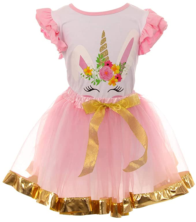 f85089f205f44 Amazon.com: Little Girls 2 Pieces Skirt Set Unicorns T-Shirt Top Tutu Tulle  Skirt Set Outfit: Clothing