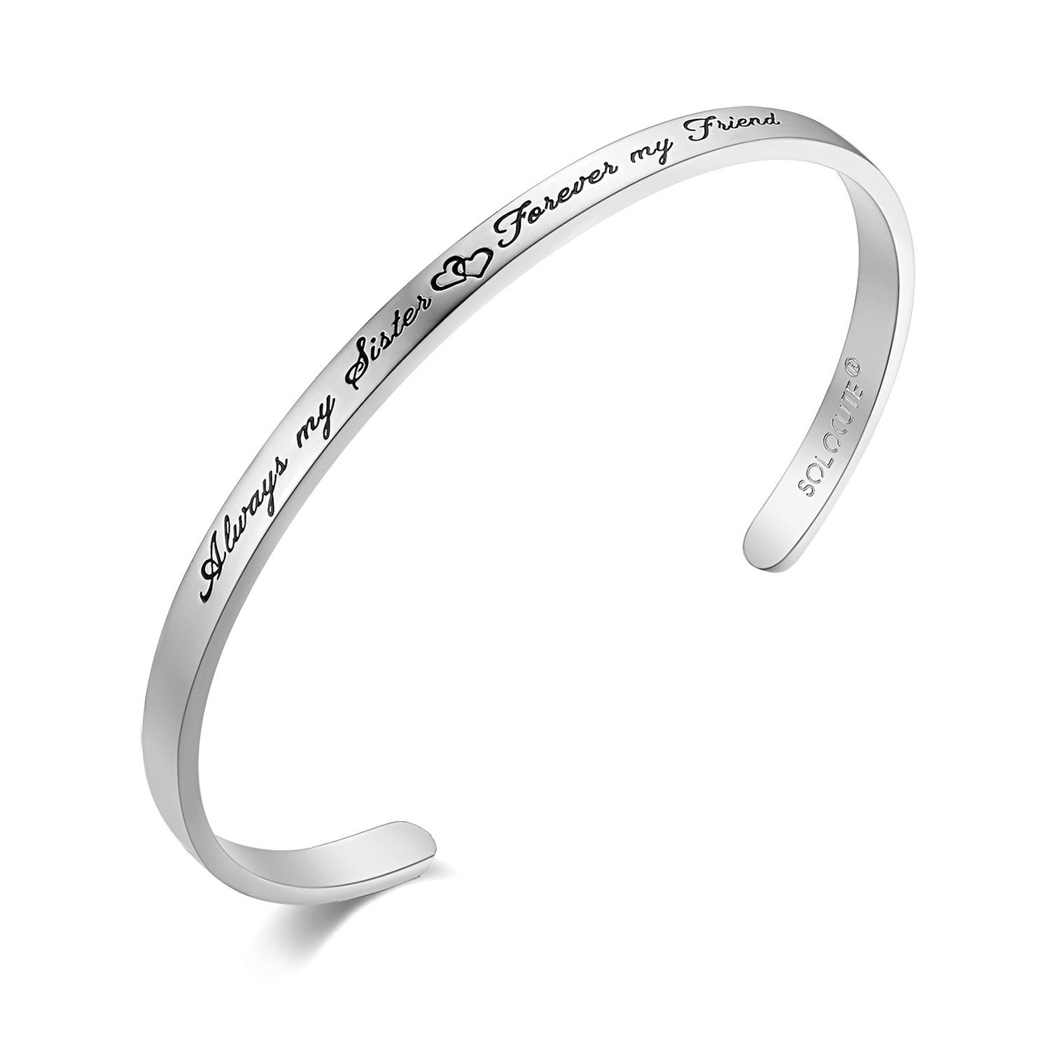SOLOCUTE Womens Bangle Bracelet Engraved ''Always My Sister Forever My Friend'' Inspirational Girls Cuff Sterling Silver Bracelet, Perfect Gift for Christmas Day, Thanksgiving Day and Birthday