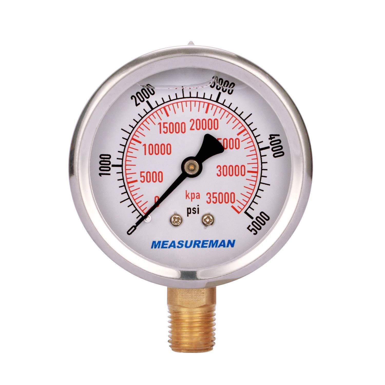 "Measureman 2-1/2"" Dial Size, Liquid Filled Hydraulic Pressure Gauge, 0-5000psi/kpa, 304 Stainless Steel Case, 1/4""NPT Lower Mount"